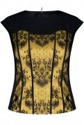 Блузка вечерняя атласная чёрная с кружевной вставкой на подкладке.